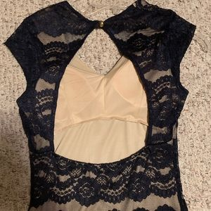 Tan and navy lace dress